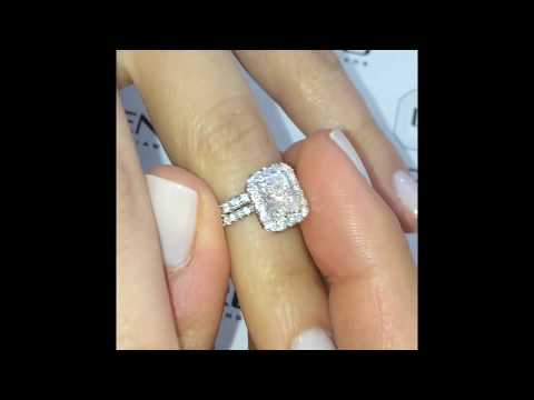1 ct Radiant Diamond Halo Engagement Ring