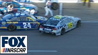 Chase Elliott Collides with Michael McDowell on Pit Road   2017 KANSAS   FOX NASCAR