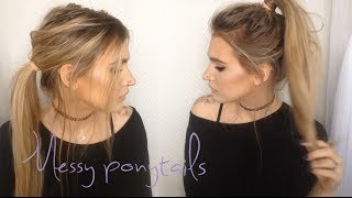 ♡ Messy ponytails | 2 in 1 hair tutorial ♡ - YouTube