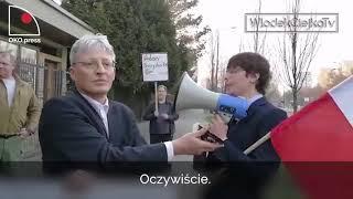 Mikro demonstracja pod domem Jarosława Kaczyńskiego.