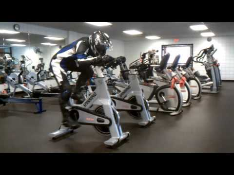 Gym Workout in Motorcycle Racing Gear