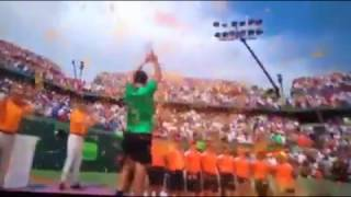 Roger Federer celebrates with trophy of Miami Open 2017
