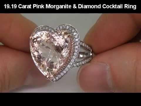ESTATE 19.19 Carat Pink Morganite & Diamond Ring Solid 14K Gold