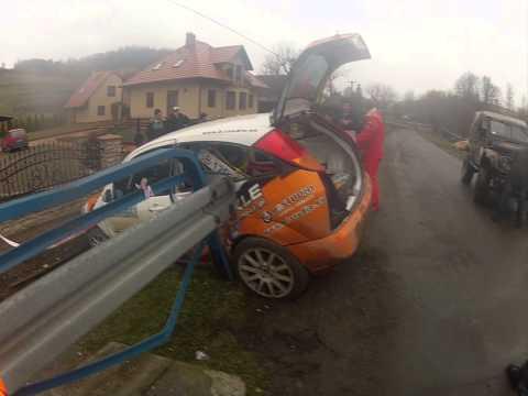 Rajd Arłamów 2014 wypadek P.Purcha/ S.Rusin Ford Focus
