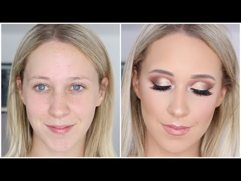 Gold Cut Crease Glam Makeup Tutorial ♡ Jasmine Hand