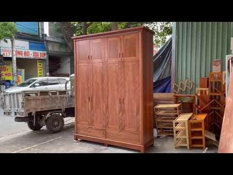 Tủ áo gỗ Xoan Đào 4 cánh cao 2m6