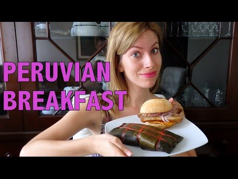 Eating Peruvian breakfast in Lima, Peru