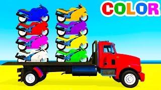 COLOR Motorbike on TruckMore funny videos:Surprise eggs Mack truckhttps://youtu.be/2tIF5B4czw0Color monster truck on carshttps://youtu.be/I_m8XQtqmswLearn numbers with carshttps://youtu.be/6FecyZ9yhcQHelicopter on truckhttps://youtu.be/zoSpZ6EowlYBus cartoon for childrenhttps://youtu.be/HjsNUXv-VFESport cars transportationhttps://youtu.be/xO1oZ3zGHRc