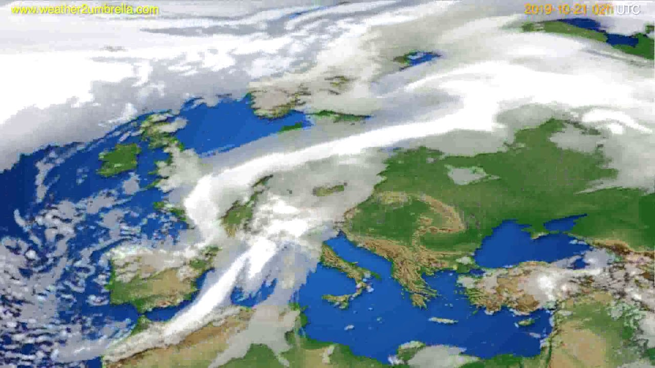 Cloud forecast Europe // modelrun: 12h UTC 2019-10-18