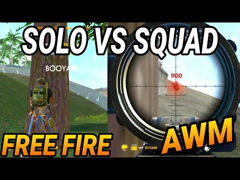 SOLO VS SQUAD - FREE FIRE BATTLEGROUNDS - CON AWM - VICTORIA EPICA