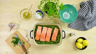 video: How to cook roast salmon and green beans with mustard crumbs