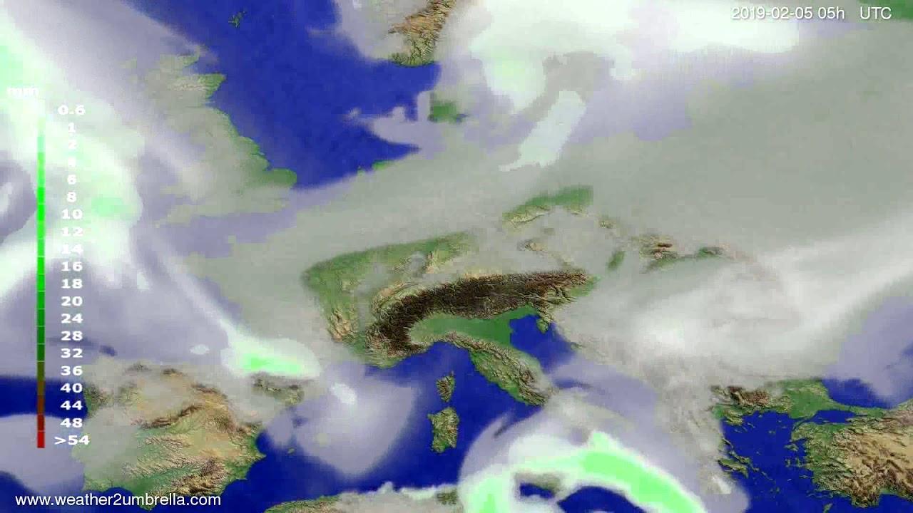 Precipitation forecast Europe 2019-02-03