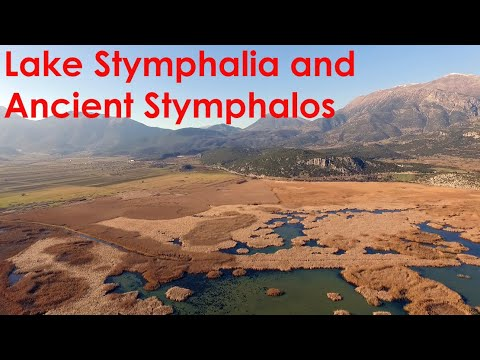 Drone footage of ancient Stymphalos, Peloponnese, Greece in HD 1080