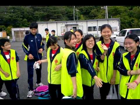 戸倉中学校仮設 東星学園中学校の生徒さん来訪(1)