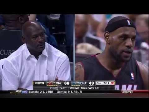 LeBron Stares Down Michael Jordan While Dunking