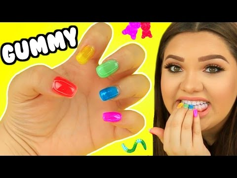 DIY GUMMY EDIBLE NAILS! Gummy Bears, Gummy worms, & More! (видео)
