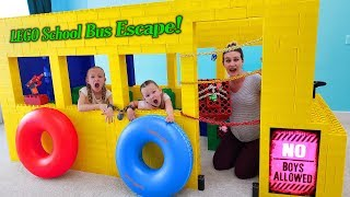 Giant Lego School Bus Escape Room Girls Only Lego Fort! No Boys Allowed!!