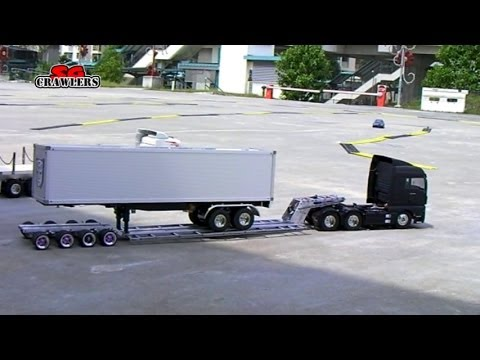 Tamiya 1/14 Semi trucks Globe Liner Scania R620 MAN TGX 6x4 King Hauler dropbed flatbed trailer