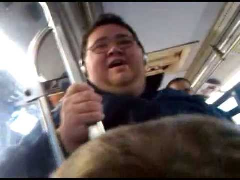 Fat man sings Katy Perry in a bus