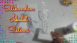 Silikondan modelin içini doldurarak iskelet sistemi organlarını yaptık ve beyaza boyadık