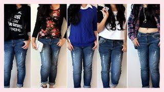 Styling Skinny Boyfriend Jeans- 5 Outfit Ideas - YouTube
