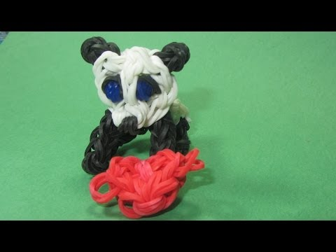 Rainbow Loom Charms: PANDA  Charm (stands on all fours): How to Design / Tutorial (DIY Mommy)