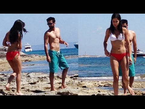 Katrina Kaif in bikini with Ranbir Kapoor at beach in Spain