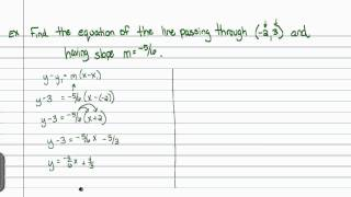 Intermediate Algebra - Equations of Lines (Part C)
