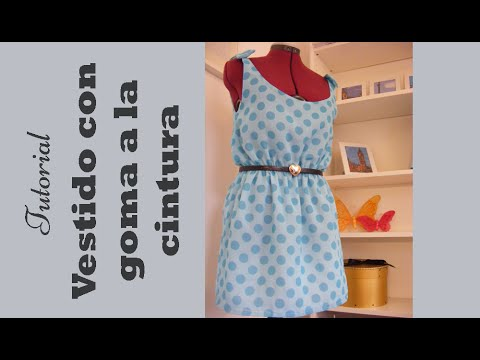 como hacer un vestido - Vestido sin mangas muy sencillo de realizar con elástico en la cintura y forro. Cómo hacer los patrones, cómo cortar la tela y cómo montar el vestido.