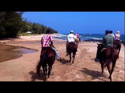 Horseback tour in Kauai Hawaii on a beach.