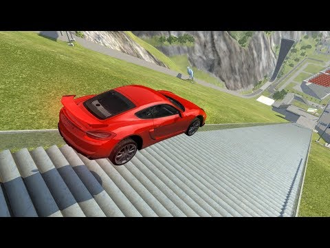 Down Stairs Jumps #1 Car Jump Arena - BeamNG.drive Stairs Jumps Down Car Accident