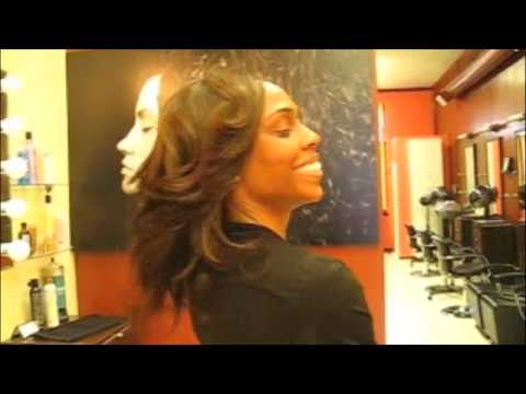 Amber does a full sew-in weave. Amber transforms her client, Aisha,