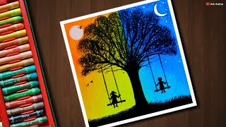 Download Video Day and Night scenery drawing for beginners with Oil Pastels - step by step MP3 3GP MP4