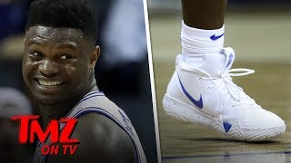 Zion Williamson Wears Nike Kyrie 4 Sneakers in Duke Return | TMZ TV