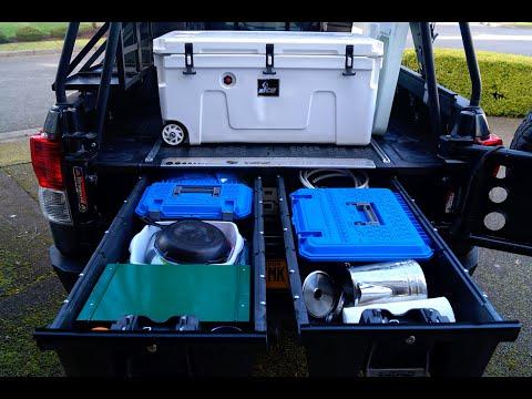 Overlanding DECKED drawer storage system truck install w/accessories