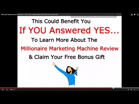 Millionaire Marketing Machine Review – Learn How To Make Money With Work From Home Jobs