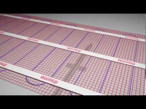 Fußbodenheizung PFM Installation - Verlegung Heizmatte mit Isolierplatten und Bodenfühler