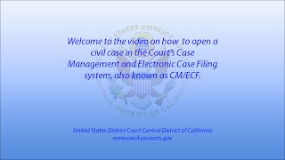 How to file a Federal Civil Complaint CM/ECF