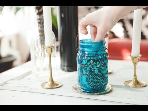 好厲害!!玻璃罐搖身一變♥變成美麗蠟燭臺