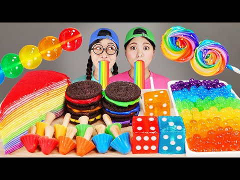 Rainbow Dessert Crepe Cake, Popping Boba DONA Mukbang