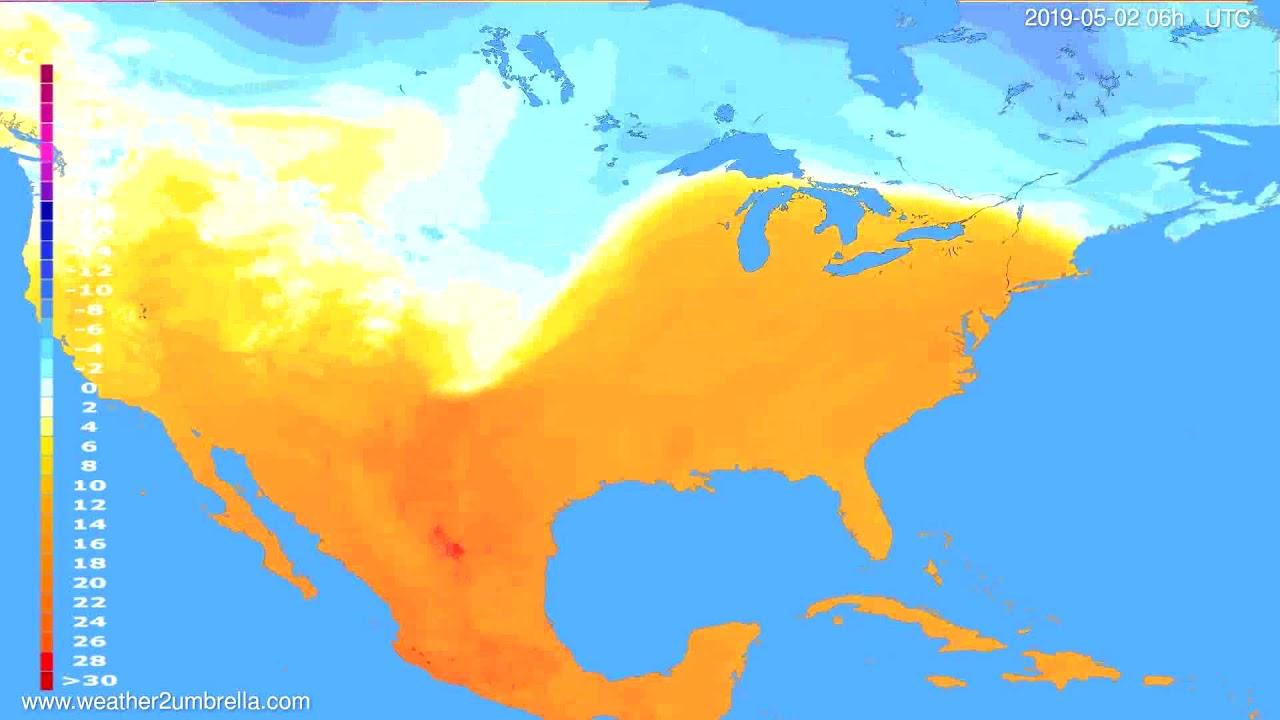 Temperature forecast USA & Canada // modelrun: 12h UTC 2019-04-29