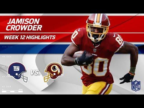 Video: Jamison Crowder's Huge Game w/ 7 Catches, 141 Yds & 1 TD   Giants vs. Redskins   Wk 12 Player HLs