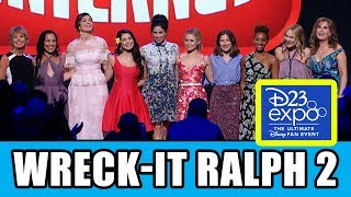 "Wreck-It Ralph 2 & Disney Princesses Presentation with Sarah Silverman (Vanellope), Auli'i Cravalho (Moana), Kristen Bell (Anna), Mandy Moore (Rapunzel), Kelly MacDonald (Merida), Anika Noni Rose (Tiana), Irene Bedard (Pocahontas), Linda Larkin (Jasmine), Paige O'Hara (Belle) and Jodi Benson (Ariel) at Disney D23 Expo. Subscribe for more! ► http://bit.ly/FlicksSubscribeRELATED VIDEOS--------------Wreck-It Ralph 2 Disney Princess Cameos Explained + Cast Interviews ► http://youtu.be/ktRc28Oy7nQPLAYLISTS YOU MIGHT LIKE------------------------Disney Animation ► http://bit.ly/DisneyAnimationVideosPixar ► http://bit.ly/PixarVideosMarvel ► http://bit.ly/MarvelVideosDC ► http://bit.ly/DCVideosFox Marvel Movies ► http://bit.ly/FoxMarvelVideosAmazing Movie & TV Facts ► http://bit.ly/ThingsYouDidntKnowVideosMovie Deleted Scenes & Rejected Concepts ► http://bit.ly/MovieDeletedScenesEaster Eggs ► http://bit.ly/EasterEggVideosReviews ► http://bit.ly/FlicksMovieTVReviewsStar Wars ► http://bit.ly/StarWarsVidsGame of Thrones ► http://bit.ly/GameOfThronesVideosSOCIAL MEDIA & WEBSITE----------------------Twitter ► http://twitter.com/FlicksCityFacebook ► http://facebook.com/FlicksAndTheCityGoogle+ ► http://google.com/+FlicksAndTheCityWebsite ► http://FlicksAndTheCity.comWreck-It Ralph is heading back to the big screen, and this time, he's wrecking the internet. The Oscar®-nominated Walt Disney Animation Studios team from the original film is reteaming for the follow-up, including director Rich Moore (""Zootopia,"" ""The Simpsons"") and producer Clark Spencer (""Zootopia,"" ""Bolt""). Phil Johnston (writer, ""Wreck-It Ralph,"" ""Zootopia,"" ""Cedar Rapids"") joins Moore as director and a writer on the project. John C. Reilly and Sarah Silverman return as the bad-guy-turned-good, Ralph, and the girl with the game-winning glitch, Vanellope von Schweetz. The untitled sequel will hit UK cinemas Spring 2018.""From the moment we started working on the first 'Wreck-It Ralph,' we knew there were so many possibilities with these characters,"" said Moore, who has been developing it since shortly after the release of the first film, and while directing this year's critically-acclaimed hit ""Zootopia"" with Byron Howard. ""This time, Ralph's wrecking wreaks havoc on the Web—as only he can do. Characters we loved in the first film are back and we are ecstatic to be working with them—and the actors who voice them—once again.""""The world of the internet is the perfect place to send Ralph and Vanellope,"" said Johnston. ""The scope and scale are so vast and the possibilities for comedy are endless.""""Ralph is a character very near and dear to my heart,"" added Reilly. ""I'm really looking forward to playing the big lug again. Making the first 'Wreck-It Ralph' was one of the most special experiences I've ever had and I'm really looking forward to bringing him back to life. So many kids I've met all over the world are excited to see him again, too. They tell me all the time!"" When ""Wreck-It Ralph"" opened on Nov. 2, 2012, it turned in the highest opening weekend ever for a Walt Disney Animation Studios film at the time of release. Nominated for an Oscar® and Golden Globe® for best animated feature, ""Wreck-It Ralph"" won the PGA Award for outstanding producer of an animated theatrical motion picture as well as five Annie Awards, including best animated feature, director, cast and screenplay. The film was named best animated feature by the Broadcast Film Critics Association, earned outstanding achievement in casting for an animated feature by the Casting Society of America, and won the Kids' Choice Award for favorite animated movie."