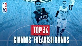 Giannis Antetokounmpo's Top 34 Freakish Dunks of His NBA Career