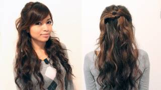 Easy Holiday Curly Half-Updo Hairstyle for Medium Long Hair Tutorial