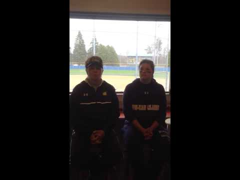 Softball: Coach Huntington and Zana Lorbetske recap sweep of UW-Platteville