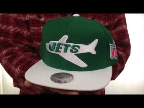 Jets '2T XL-LOGO SNAPBACK' Green-White Adjustable Hat by Mitchell & Ness