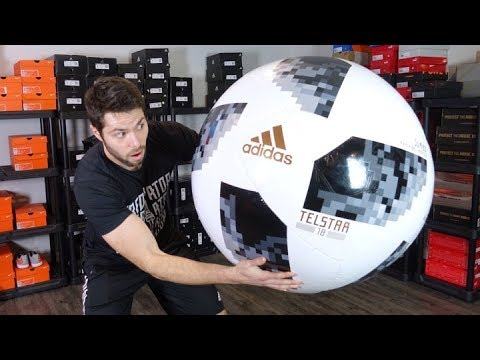 WORLD'S BIGGEST REAL SOCCER BALL! - JUMBO Adidas Telstar 18 Match Ball - Review