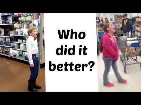 Walmart singing: yodeling kid vs Adele wannabe