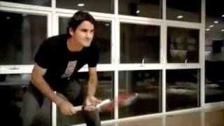 Roger Federer famous tennis player plays tennis in his home against his so called coach.